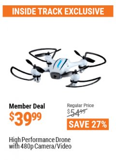 Harbor Freight ITC Coupon HIGH PERFORMANCE DRONE WITH 480P CAMERA/VIDEO Lot No. 56814 Expired: 4/29/21 - $39.99