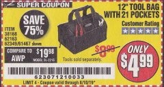 "Harbor Freight Coupon VOYAGER 12"" WIDE MOUTH TOOL BAG Lot No. 38168/62163/62349/61467 Expired: 8/10/19 - $4.99"