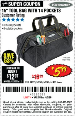 "Harbor Freight Coupon 15"" TOOL BAG Lot No. 61469/94993/62348/62341 EXPIRES: 6/30/20 - $5.99"