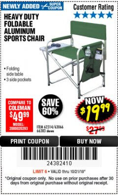 Harbor Freight ITC Coupon FOLDABLE ALUMINUM SPORTS CHAIR Lot No. 66383/62314/63066 Expired: 10/21/18 - $19.99
