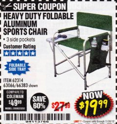 Harbor Freight Coupon FOLDABLE ALUMINUM SPORTS CHAIR Lot No. 66383/62314/63066 Expired: 11/30/18 - $19.99
