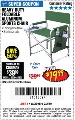Harbor Freight Coupon FOLDABLE ALUMINUM SPORTS CHAIR Lot No. 66383/62314/63066 Expired: 2/2/20 - $19.99