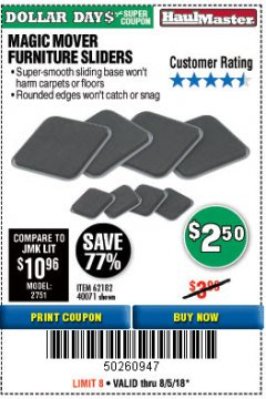 Harbor Freight Coupon MAGIC MOVER FURNITURE SLIDERS Lot No. 40071/62182 Expired: 8/5/18 - $2.5