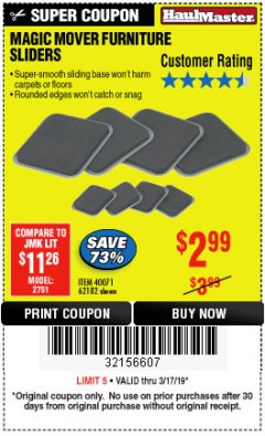 Harbor Freight Coupon MAGIC MOVER FURNITURE SLIDERS Lot No. 40071/62182 Expired: 3/17/19 - $2.99