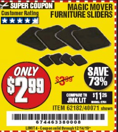Harbor Freight Coupon MAGIC MOVER FURNITURE SLIDERS Lot No. 40071/62182 Valid Thru: 12/14/19 - $2.99