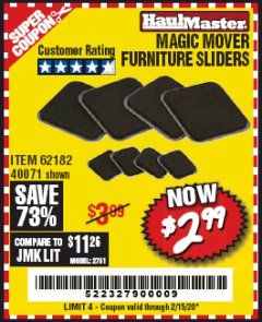 Harbor Freight Coupon MAGIC MOVER FURNITURE SLIDERS Lot No. 40071/62182 Valid Thru: 2/15/20 - $2.99