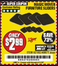 Harbor Freight Coupon MAGIC MOVER FURNITURE SLIDERS Lot No. 40071/62182 EXPIRES: 6/30/20 - $2.99