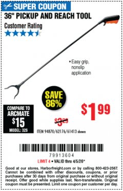 "Harbor Freight Coupon 36"" PICKUP AND REACH TOOL Lot No. 94870/61413/62176 EXPIRES: 6/30/20 - $1.99"