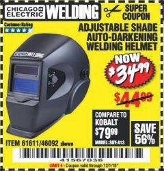 Harbor Freight Coupon ADJUSTABLE SHADE AUTO-DARKENING WELDING HELMET Lot No. 46092/61611 Expired: 12/1/18 - $34.99
