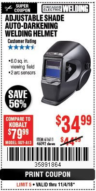 Harbor Freight Coupon ADJUSTABLE SHADE AUTO-DARKENING WELDING HELMET Lot No. 46092/61611 Expired: 11/4/18 - $34.99
