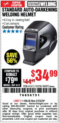 Harbor Freight Coupon ADJUSTABLE SHADE AUTO-DARKENING WELDING HELMET Lot No. 46092/61611 Expired: 2/23/20 - $34.99
