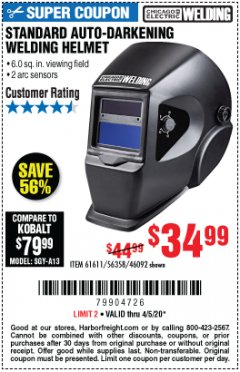 Harbor Freight Coupon ADJUSTABLE SHADE AUTO-DARKENING WELDING HELMET Lot No. 46092/61611 Valid Thru: 6/30/20 - $34.99