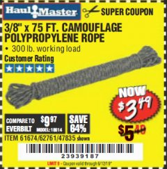 "Harbor Freight Coupon 3/8"" x 75 FT. CAMOUFLAGE POLY ROPE Lot No. 47835/61674 Valid Thru: 6/12/19 - $3.49"