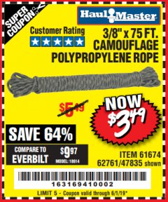 "Harbor Freight Coupon 3/8"" x 75 FT. CAMOUFLAGE POLY ROPE Lot No. 47835/61674 Valid Thru: 6/1/19 - $3.49"