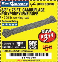 "Harbor Freight Coupon 3/8"" x 75 FT. CAMOUFLAGE POLY ROPE Lot No. 47835/61674 Valid Thru: 7/19/19 - $3.49"