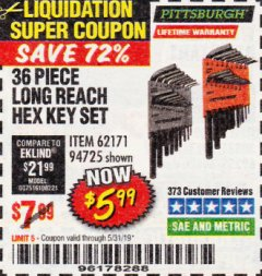 Harbor Freight Coupon 36 PIECE SAE/METRIC LONG REACH HEX KEY SET Lot No. 62171/94725 EXPIRES: 5/31/19 - $5.99