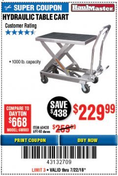 Harbor Freight Coupon 1000 LB. CAPACITY HYDRAULIC TABLE CART Lot No. 69148/60438 Expired: 7/22/18 - $229.99