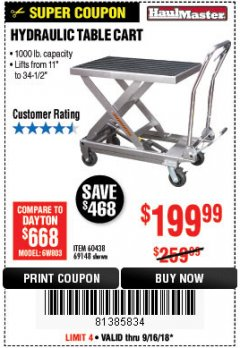 Harbor Freight Coupon 1000 LB. CAPACITY HYDRAULIC TABLE CART Lot No. 69148/60438 Expired: 9/16/18 - $199.99