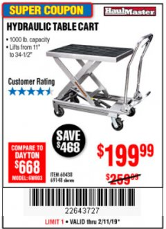 Harbor Freight Coupon 1000 LB. CAPACITY HYDRAULIC TABLE CART Lot No. 69148/60438 Expired: 2/11/19 - $199.99