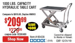 Harbor Freight Coupon 1000 LB. CAPACITY HYDRAULIC TABLE CART Lot No. 69148/60438 Expired: 12/31/19 - $209.99