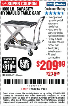 Harbor Freight Coupon 1000 LB. CAPACITY HYDRAULIC TABLE CART Lot No. 69148/60438 Expired: 2/9/20 - $209.99