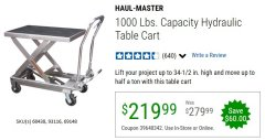 Harbor Freight Coupon 1000 LB. CAPACITY HYDRAULIC TABLE CART Lot No. 69148/60438 Valid Thru: 6/30/20 - $219.99