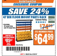 Harbor Freight ITC Coupon 47 BIN FLOOR MOUNT PARTS RACK Lot No. 95736 Expired: 5/29/18 - $64.99