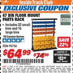 Harbor Freight ITC Coupon 47 BIN FLOOR MOUNT PARTS RACK Lot No. 95736 Expired: 2/28/19 - $64.99