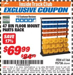 Harbor Freight ITC Coupon 47 BIN FLOOR MOUNT PARTS RACK Lot No. 95736 Dates Valid: 12/31/69 - 5/31/19 - $69.99