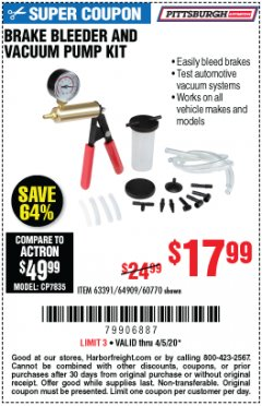 Harbor Freight Coupon BRAKE BLEEDER AND VACUUM PUMP KIT Lot No. 69328/60770/92474 Expired: 6/30/20 - $17.99