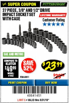 "Harbor Freight Coupon 37 PIECE 3/8"" AND 1/2"" DRIVE COMBINATION IMPACT SOCKET SET Lot No. 68011 Expired: 8/31/18 - $23.99"
