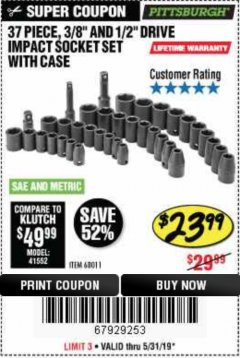 "Harbor Freight Coupon 37 PIECE 3/8"" AND 1/2"" DRIVE COMBINATION IMPACT SOCKET SET Lot No. 68011 EXPIRES: 5/31/19 - $23.99"