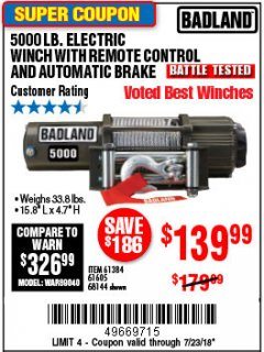 Harbor Freight Coupon 5000 LB. ELECTRIC WINCH WITH REMOTE CONTROL AND AUTOMATIC BRAKE Lot No. 68144/61384/61605 Expired: 7/23/18 - $139.99