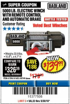 Harbor Freight Coupon 5000 LB. ELECTRIC WINCH WITH REMOTE CONTROL AND AUTOMATIC BRAKE Lot No. 68144/61384/61605 Expired: 9/30/18 - $139.99