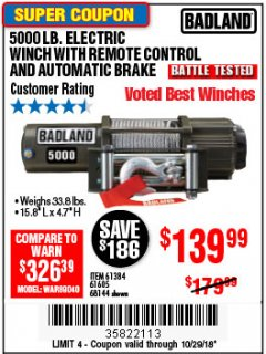 Harbor Freight Coupon 5000 LB. ELECTRIC WINCH WITH REMOTE CONTROL AND AUTOMATIC BRAKE Lot No. 68144/61384/61605 Expired: 10/29/18 - $139.99