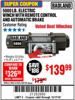 Harbor Freight Coupon 5000 LB. ELECTRIC WINCH WITH REMOTE CONTROL AND AUTOMATIC BRAKE Lot No. 68144/61384/61605 Expired: 12/17/18 - $139.99