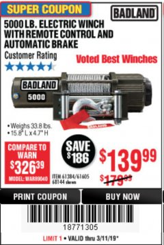 Harbor Freight Coupon 5000 LB. ELECTRIC WINCH WITH REMOTE CONTROL AND AUTOMATIC BRAKE Lot No. 68144/61384/61605 Expired: 3/11/19 - $139.99