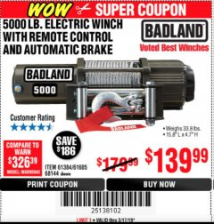 Harbor Freight Coupon 5000 LB. ELECTRIC WINCH WITH REMOTE CONTROL AND AUTOMATIC BRAKE Lot No. 68144/61384/61605 Expired: 3/17/19 - $139.99