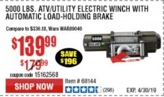 Harbor Freight Coupon 5000 LB. ELECTRIC WINCH WITH REMOTE CONTROL AND AUTOMATIC BRAKE Lot No. 68144/61384/61605 Expired: 4/30/19 - $139.99