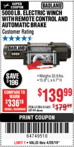 Harbor Freight Coupon 5000 LB. ELECTRIC WINCH WITH REMOTE CONTROL AND AUTOMATIC BRAKE Lot No. 68144/61384/61605 Expired: 4/28/19 - $139.99
