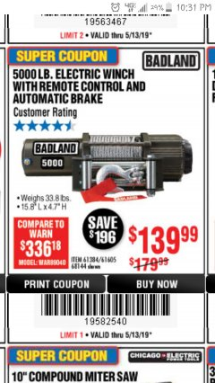 Harbor Freight Coupon 5000 LB. ELECTRIC WINCH WITH REMOTE CONTROL AND AUTOMATIC BRAKE Lot No. 68144/61384/61605 Expired: 5/13/19 - $139.99