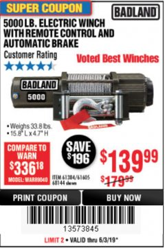 Harbor Freight Coupon 5000 LB. ELECTRIC WINCH WITH REMOTE CONTROL AND AUTOMATIC BRAKE Lot No. 68144/61384/61605 Expired: 6/3/19 - $139.99