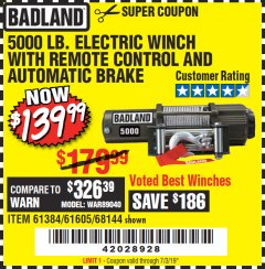 Harbor Freight Coupon 5000 LB. ELECTRIC WINCH WITH REMOTE CONTROL AND AUTOMATIC BRAKE Lot No. 68144/61384/61605 Expired: 7/3/19 - $139.99