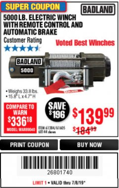 Harbor Freight Coupon 5000 LB. ELECTRIC WINCH WITH REMOTE CONTROL AND AUTOMATIC BRAKE Lot No. 68144/61384/61605 Expired: 7/8/19 - $139.99
