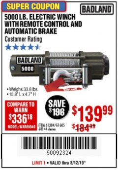 Harbor Freight Coupon 5000 LB. ELECTRIC WINCH WITH REMOTE CONTROL AND AUTOMATIC BRAKE Lot No. 68144/61384/61605 Expired: 8/12/19 - $139.99
