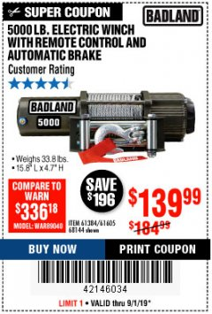 Harbor Freight Coupon 5000 LB. ELECTRIC WINCH WITH REMOTE CONTROL AND AUTOMATIC BRAKE Lot No. 68144/61384/61605 Expired: 9/1/19 - $139.99