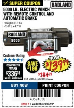 Harbor Freight Coupon 5000 LB. ELECTRIC WINCH WITH REMOTE CONTROL AND AUTOMATIC BRAKE Lot No. 68144/61384/61605 Expired: 9/30/19 - $139.99