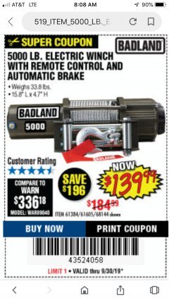 Harbor Freight Coupon 5000 LB. ELECTRIC WINCH WITH REMOTE CONTROL AND AUTOMATIC BRAKE Lot No. 68144/61384/61605 Expired: 9/22/19 - $139.99