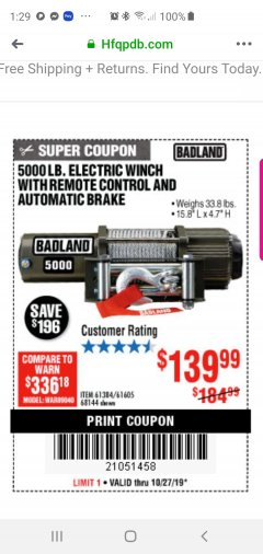 Harbor Freight Coupon 5000 LB. ELECTRIC WINCH WITH REMOTE CONTROL AND AUTOMATIC BRAKE Lot No. 68144/61384/61605 Expired: 10/27/19 - $139.99