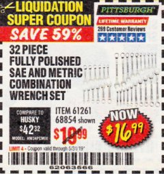 Harbor Freight Coupon 32 PIECE FULLY POLISHED SAE & METRIC COMBINATION WRENCH SET Lot No. 68854/61261 EXPIRES: 5/31/19 - $16.99
